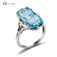 Classic Band Wedding Ring Russian Unique Created Blue Topaz Cystal Ring Genuine 925 Sterling Silver Jewelry