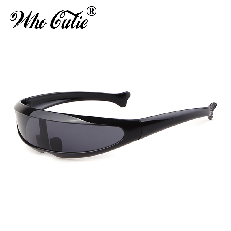 WHO CUTIE 2019 Windproof Visor Sunglasses Men Women One Peice Sunny Flat Top Goggles Oversized Shield Robot Sun Glasses Male 837
