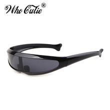b0e1e8d819 WHO CUTIE 2019 Windproof Visor Sunglasses Men Women One Peice Sunny Flat Top  Goggles Oversized Shield