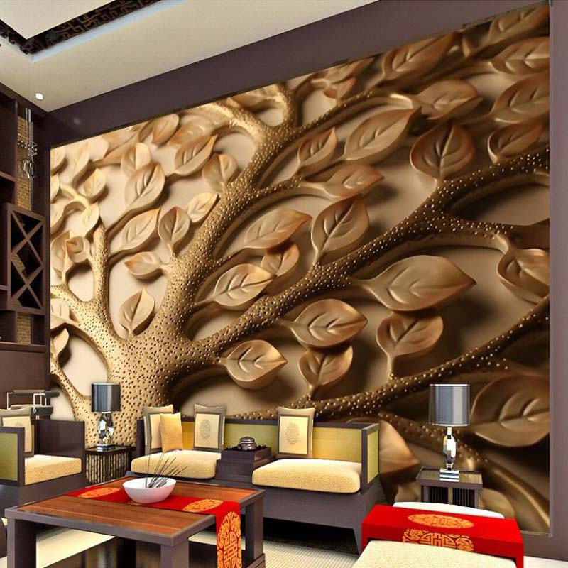 Designer Wallpaper Ideas Photos: Custom 3D Stereoscopic Relief Leaves Wallpaper Bedroom