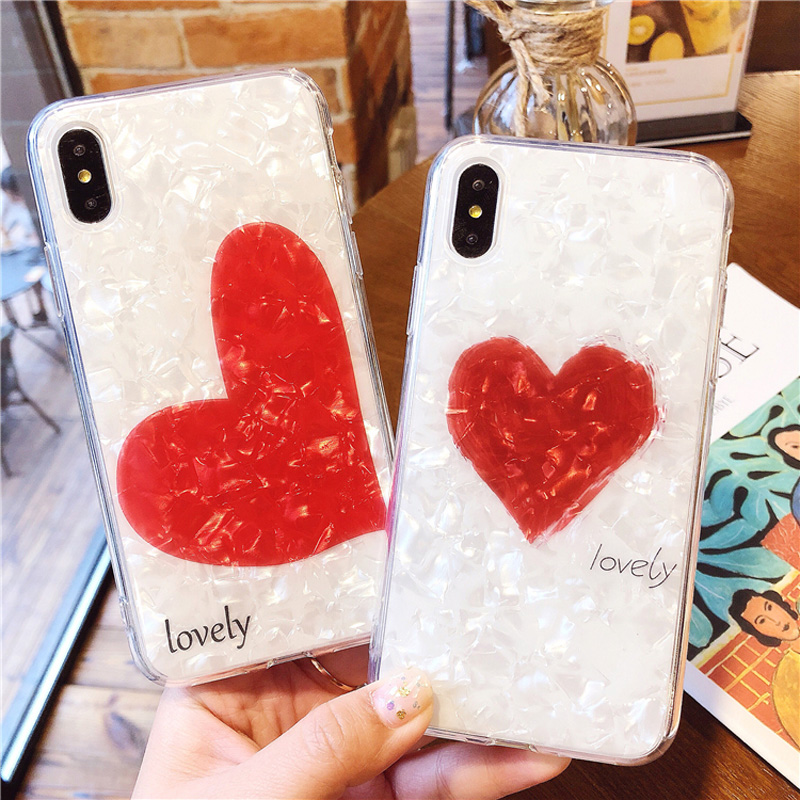 iboann conch Shine love heart glossy soft gel silicone tpu cases for iphone 6 6s 6plus 7 8 plus X phone case cover