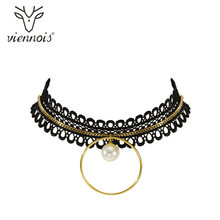 Viennois Gold Color Chokers Necklace For Women Simulated Pearl Choker Necklaces Female Lace Ribbon Choker(China)