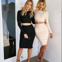 2015 New Arrival Sexy Women Two Piece Long Sleeve Dress Special Occasion Cocktail Party Celeb HL