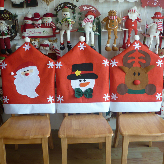 Christmas Chair Back Covers Uk Single Fold Out Bed New 1pc Cute Santa Claus Snowman Elk Deer Dining Room Seat Cover Home Party Decor Xmas Table Accessory
