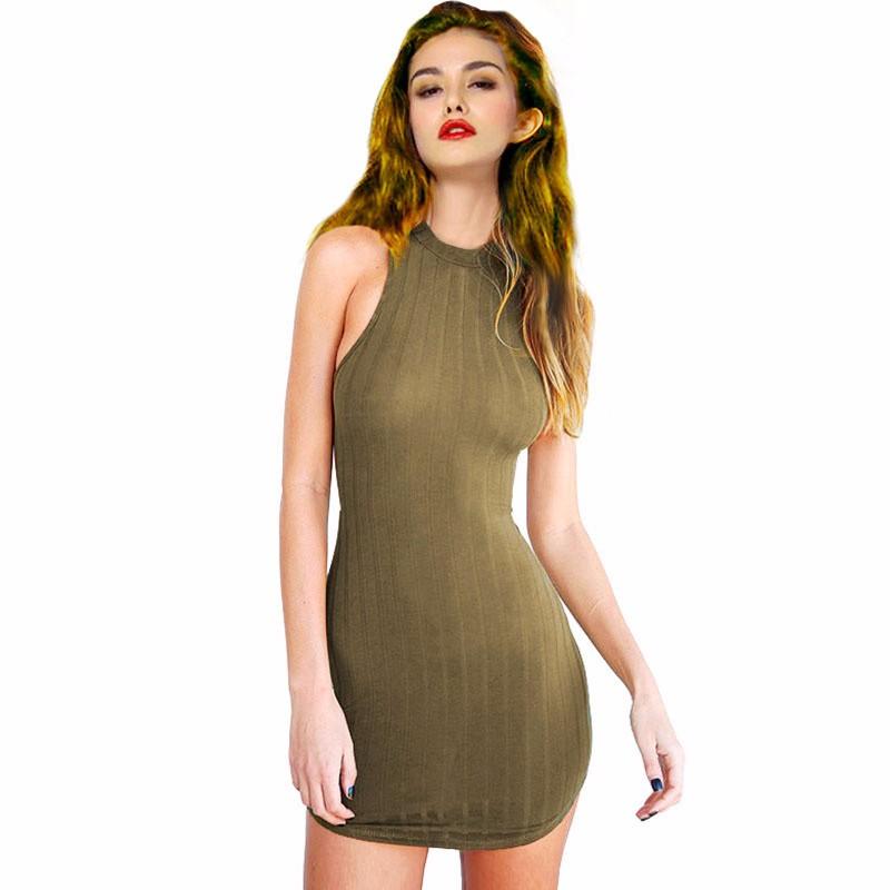 a20ccfb080b6 2017 Fashion Knitted Women Halter Bodycon Dress Slim Fit Olive Green  Backless Sexy Mini Club Dress Summer Jersey vestidoS F001