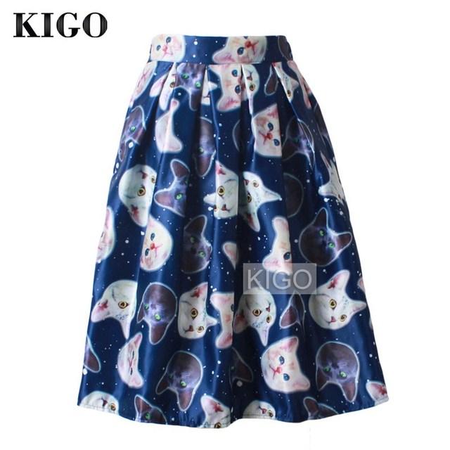 KIGO Mujeres de Cintura Alta Midi Ocasional Falda Plisada Falda Impresión Del Gato 2016 de Primavera y Verano Moda Jupe Femme Saia K2016