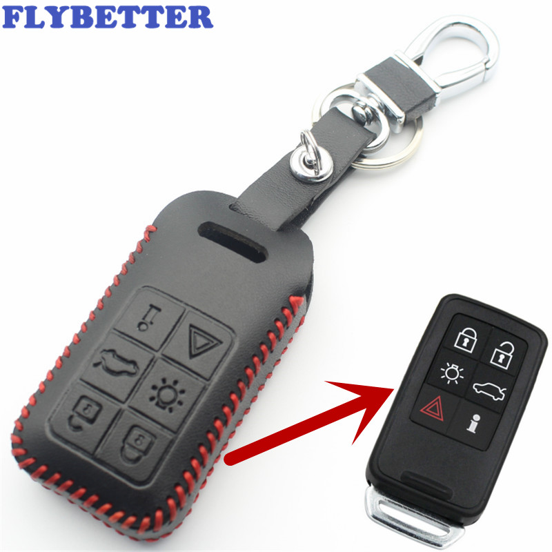 FLYBETTER Genuine Leather 6Button Smart Key Case Cover For Volvo S60/S80/V60/XC60/XC70 Keyless Entry Car Styling L2006 flybetter genuine leather 4button keyless entry smart key case cover for kia sorento rio rio5 optima car styling l71