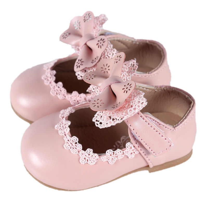 รองเท้าหนังสีขาวสำหรับเด็กสาวโบว์โบว์รองเท้าสบายรองเท้าเดี่ยวลูกไม้ Party สำหรับรองเท้าเด็ก 1 -8 ปี MCH076