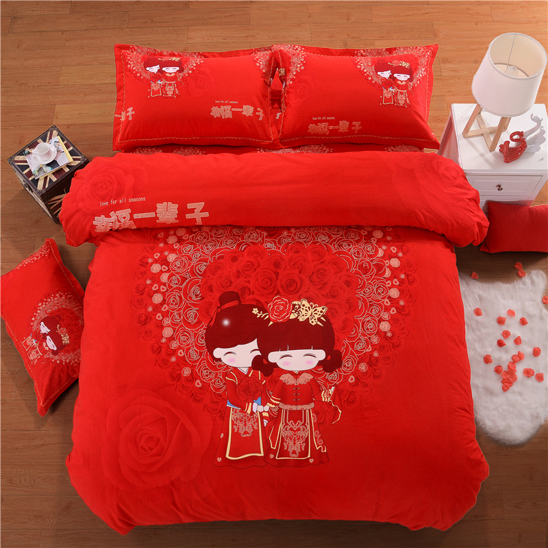 2018 luxury 100 Cotton Sweet Lover Wedding Bedding Set Printed Soft Duvet Cover Bed Sheet Pillowcases