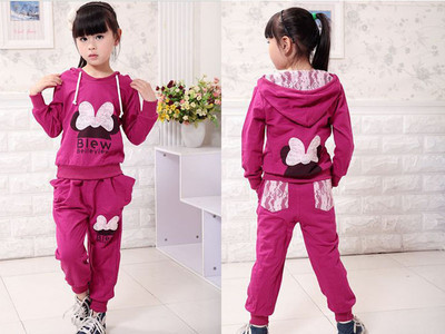 girl sport wear Baby Clothing Set girls sport Fashion 2pcs shirt and pant, Baby Garment Butterfly Sets