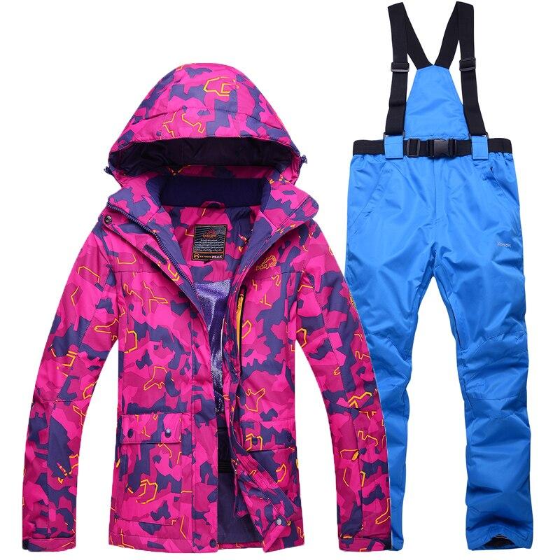 Skiing Jacket pant suits women outdoor Snowboarding Sets ski snow jackets Sportswear Warm Breathable Waterproof Waterproof
