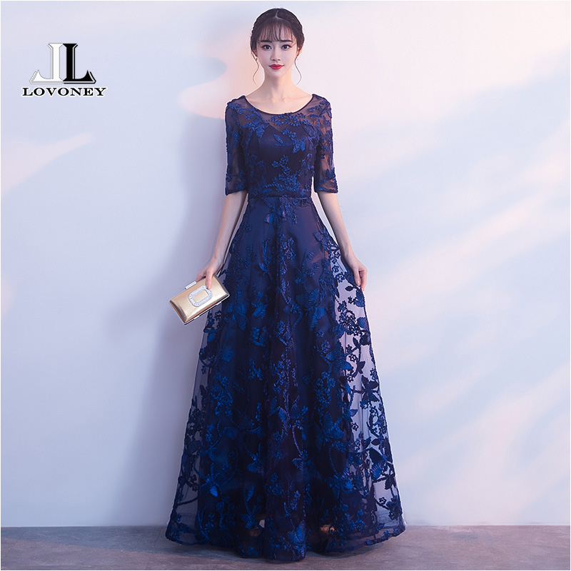 LOVONEY Robe De Soiree Elegant Half Sleeves   Evening     Dress   Long Formal   Dress     Evening   Gown Sexy Open Back Prom Party   Dresses   M253