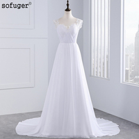 New Arrival Sexy Illusion Back With Beaded Pleat Chapel Train White Bridal Dress Beach Wedding Dresses