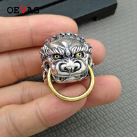 Retro Sterling silver Brave troops men ring High quality Gold Thai silver color punk jewelry Hip hop style Big ring about 27g