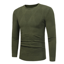Plus Size Mens Korean Autumn Winter Sweater Casual Round Neck Solid Color Long-sleeved Thin Shirt Street Clothing