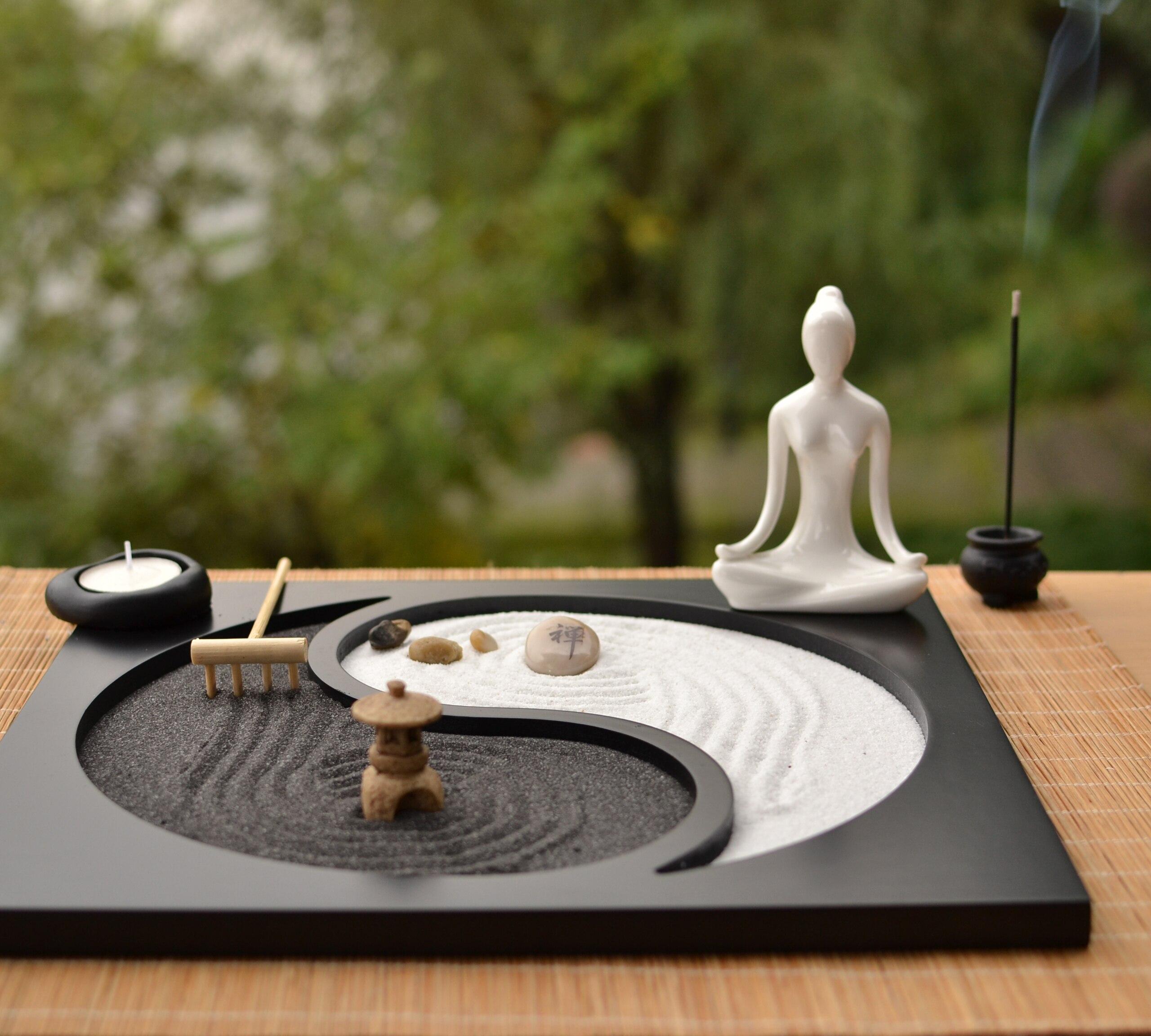 Japon Style artisanat en bois Jardin Zen Décoration figurine en résine Détendre Bouddhisme Encens Brûleur Sable Table décoration d'intérieur Artisanat