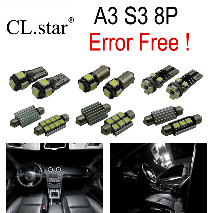 16pc X canbus Error Free LED Bulb Interior Light Kit Package for Audi A3 S3 8P (2006-2013) 16pc x canbus error free led bulb interior light kit package for audi a3 s3 8p 2006 2013
