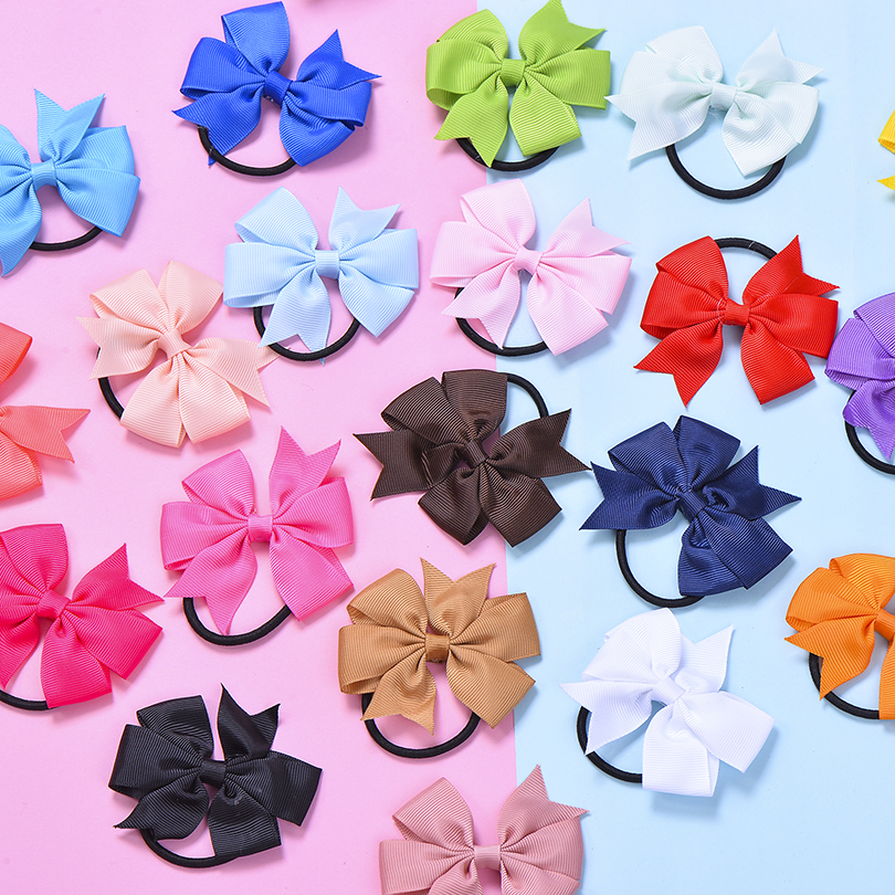 Hair-Band Hair-Accessories Elastic Girls Women Ribbon for Bow Streamers Horsetail-Tie