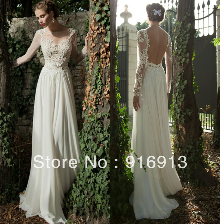 Bateau a line backless wedding dress sheer sleeve applique for Lace sleeve backless wedding dress