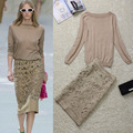 Hot-selling Knit Camisola Longa Da Luva + Escavar Bordado Fino Saia Saia Suit 131202XD02