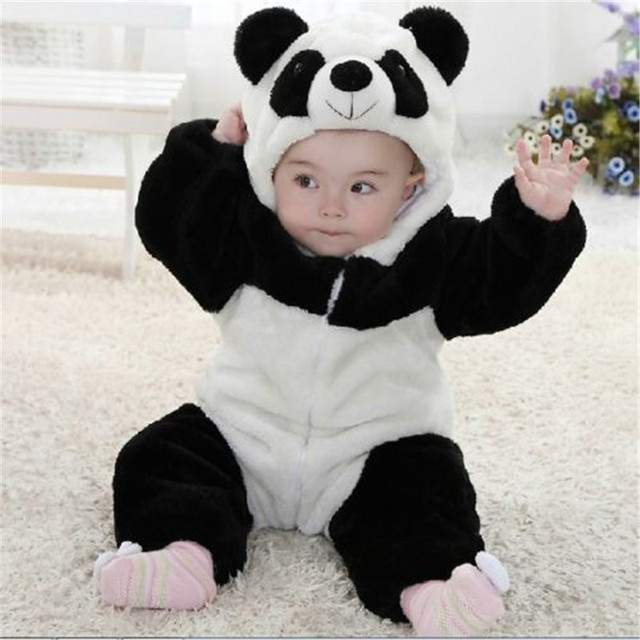 New Arrival  Baby Boy Girl panda Hooded Zipper Rompers Cute Baby Warm Costume Onesie Panda Climbing Warm Pajamas Romper Coverall