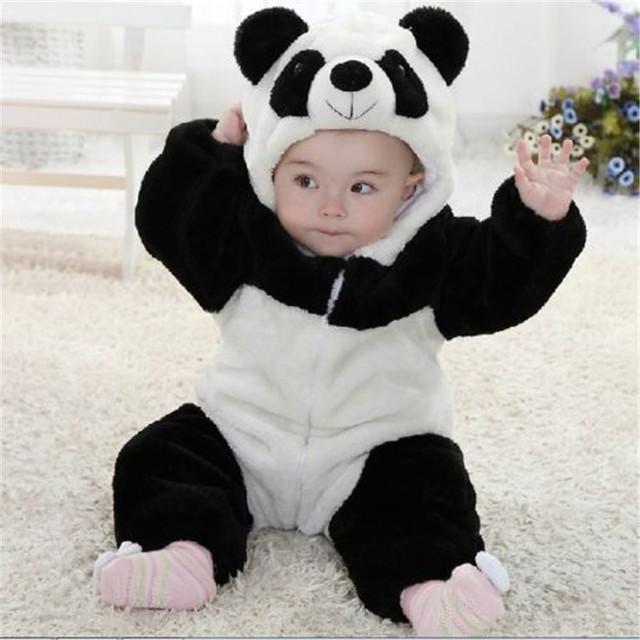 Nova Chegada Do Bebê Da Menina do Menino panda Macacão Com Capuz Zipper Quente Bebê Bonito Traje Onesie Panda Escalada Quente Pijama Romper Coverall