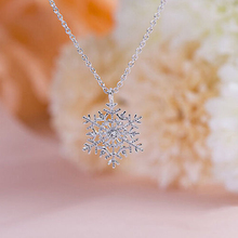 Luxury Crystal Snowflake Pendants&Necklaces Fashion Silver Plated Chain Necklace Gift For Women Female Jewelry Shellhard