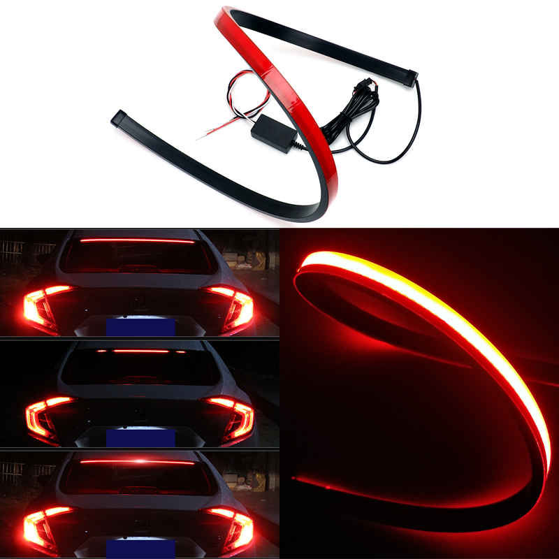 Us 12 5 20 Off Red Flowing Flashing Car Third Brake Light Led Light Strip Rear Tail High Mount Stop Lamp 12v Signal Safety Warning Light For A3 In