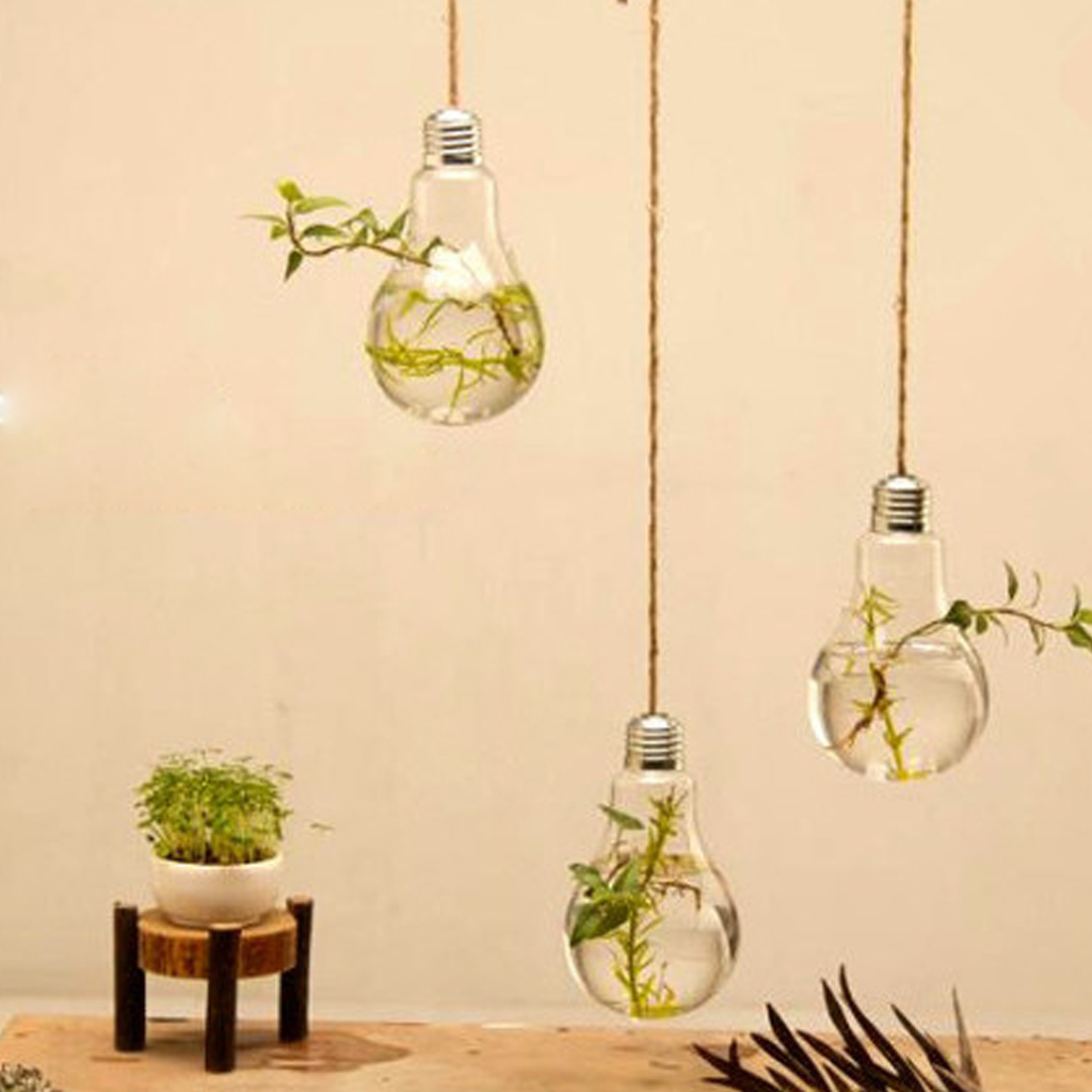 New Hot Sale Clear Bulb Glass Wall Hanging Vase Bottle for Plant ...