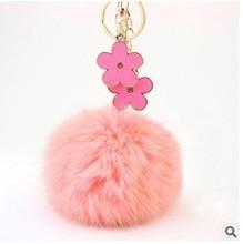 Creative Fashion trinket Rhinestone Clover Flowers 12cm Rabbit fur ball keychain keyring charm bag key ring chain holder gift