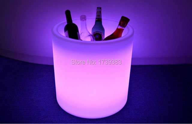 Free Ship Rechargeable Colorful polyethylene slide vaso pots i-pot LIGHT LED Light Champagne Wine Chiller Ice Bucket Waterproof