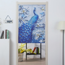 Peacock Tapestry waterproof linen fitting room dressing room fabric curtain Partition curtain Japanese door curtain custom стоимость
