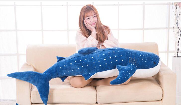 Énorme poupée en peluche requin bleu 150 cm, oreiller doux cadeau d'anniversaire cadeau de noël d2433