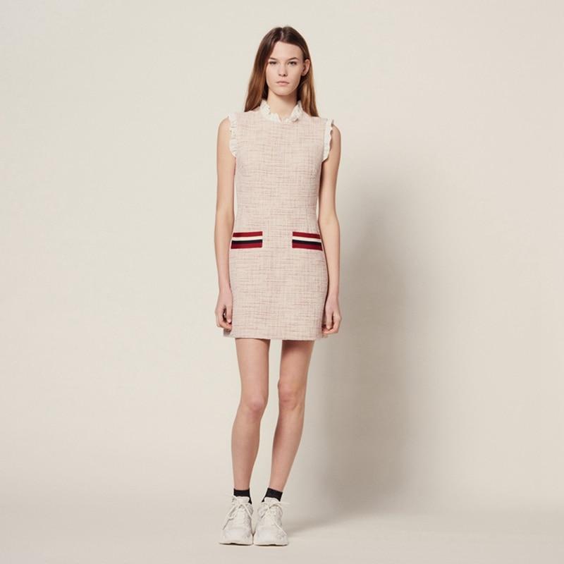 2019 New Women Lace Slim Dress Small Fragrance Sleeveless Striped Mini Pencil Dress With Pockets