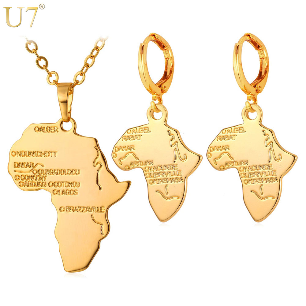 U7 Hot Africa Map Necklace Set Women Trendy Gold/Silver Color