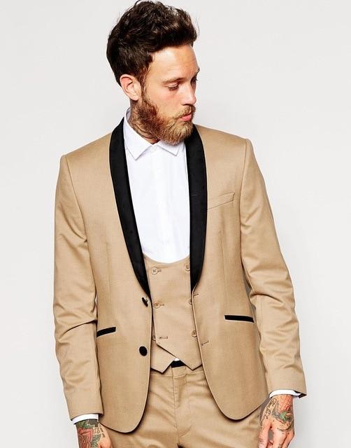 2017 Khaki Groom Tuxedos Italian Style Black Lapel Mens Wedding Prom ...