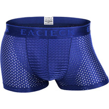 Bamboo Underwear Men Boxer Shorts Breathable Mesh Sexy Mens Boxers Transparent Underpants Brand Fishnet Seamless