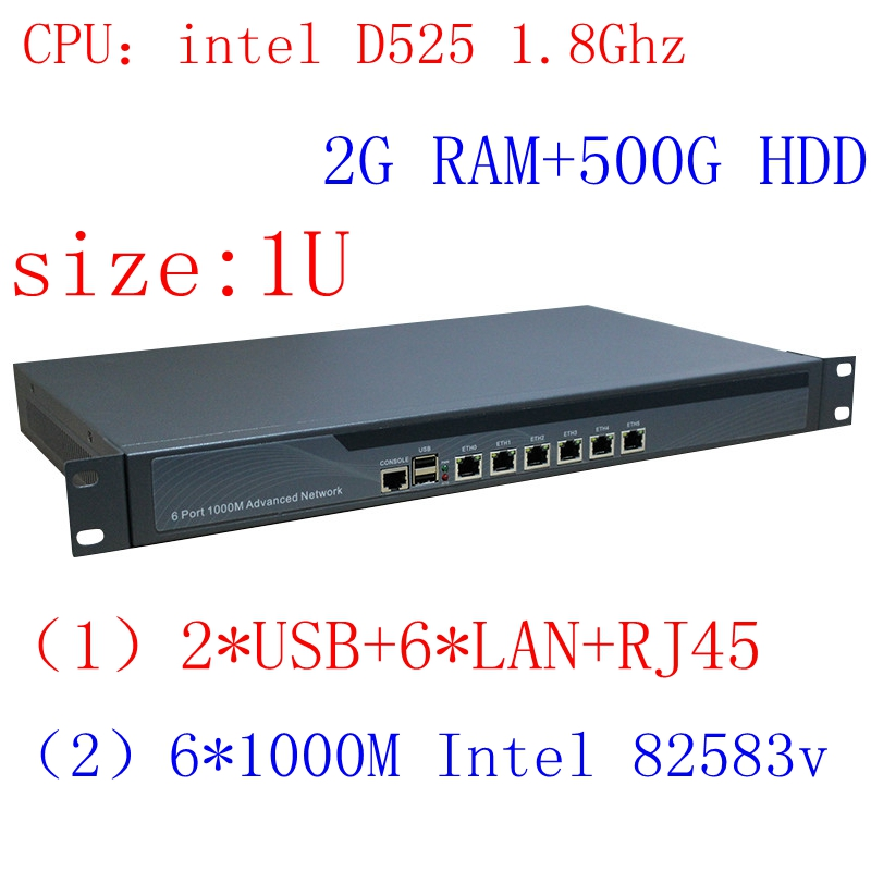 1U Atom Server / Firewall Network Security Atom D525  6 Lan  6*intel PCI-E 1000M 82583v Lan 2G RAM 500G HDD