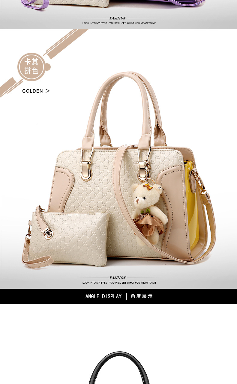 Fashion Women Shoulder Bag Women Handbags Set With Bear Pendant ... c285c0998a466