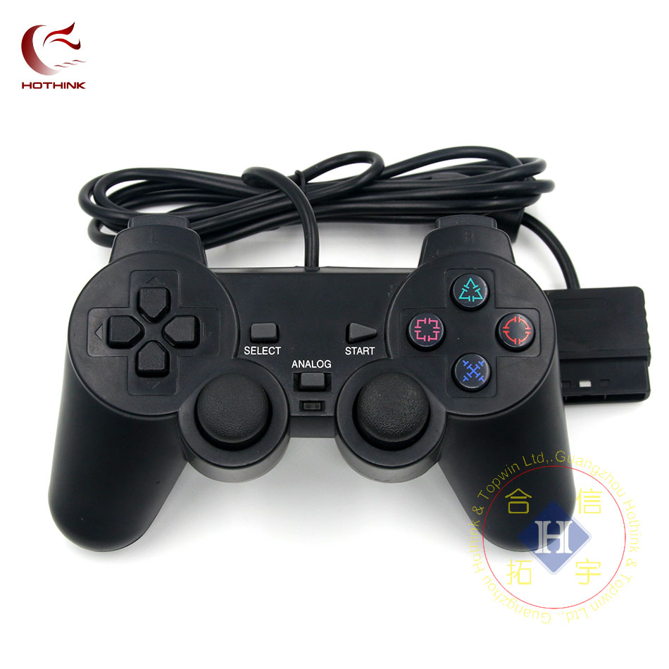 HOTHINK שחור Wired Controller Joypad ג 'ויסטיק Gamepad זוגי הלם מרחוק 1.8 M לפלייסטיישן 2 PS2