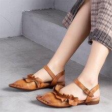 Для женщин Лето г. пояса из натуральной кожи обувь на низком каблуке женские ручной работы цветок сандалии для девочек T59622-13