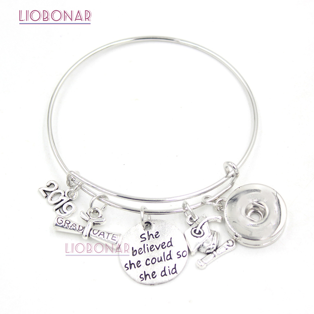 676a76620 1PC Snap Jewelry 2017 2018 2019 2020 Graduation Bracelet Expandable Wire  Bangle Snap Button Bracelet for College Graduation Gift