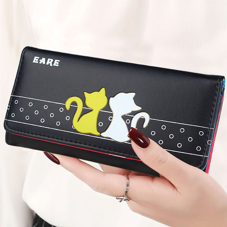 Lady Purses Cat Pattern Women Wallets Cards Holder Fold Clutch Envelope Money Bags Long Short Woman Wallet Girls Coin Purse Bag