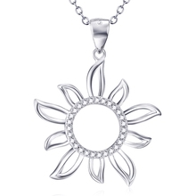 925 sterling silver jewelry Fashion creative sun flower pendant necklace women girls party gift CHX9027