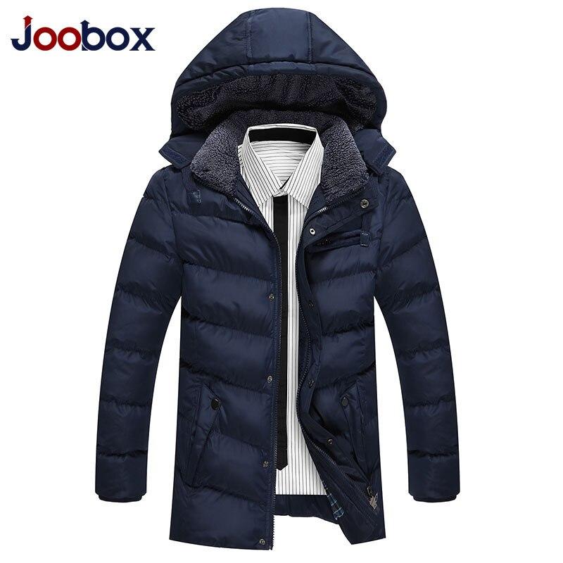 JOOBOX homme Long hiver veste manteau épais Parka hommes décontracté coupe-vent solide à capuche chaud coton-rembourré veste masculina 6868 Y