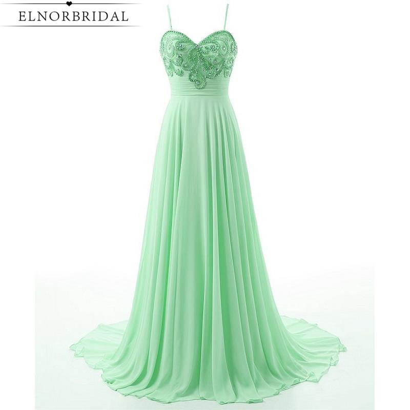 Mint Green Prom Dresses Long 2017 Modest Robe De Bal Spaghetti Straps Beading Imported Party Dress Girls Pageant Gowns