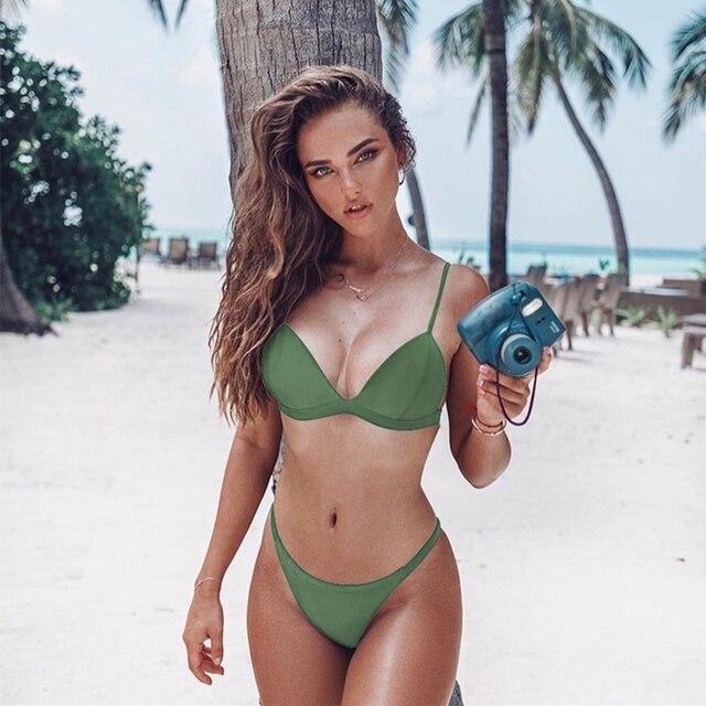 Vestido de baño Bikini sexy unicolor 2
