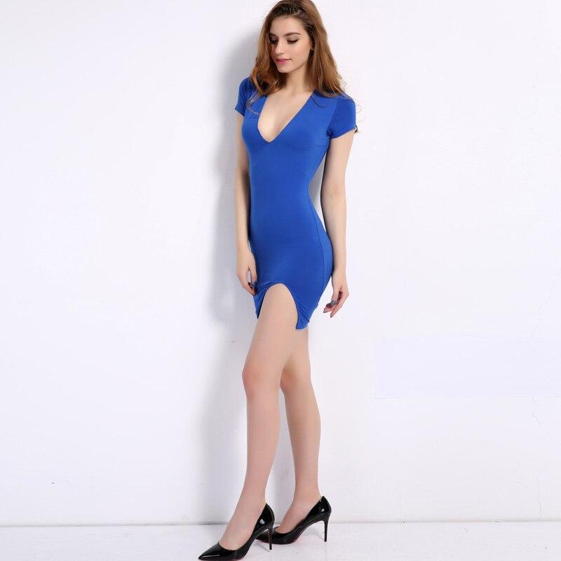 City 2018 Summer Sexy Deep V-Neck Slim Hem Split Mini Party Dress Short Sleeve Sheath P Blue Women Dresses CIL-1140