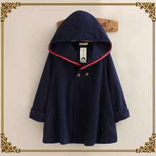 Fengmeisi 2017 new fashion women Blends coat autumn winter casul hooded solid color lady Mantelet coat P1964