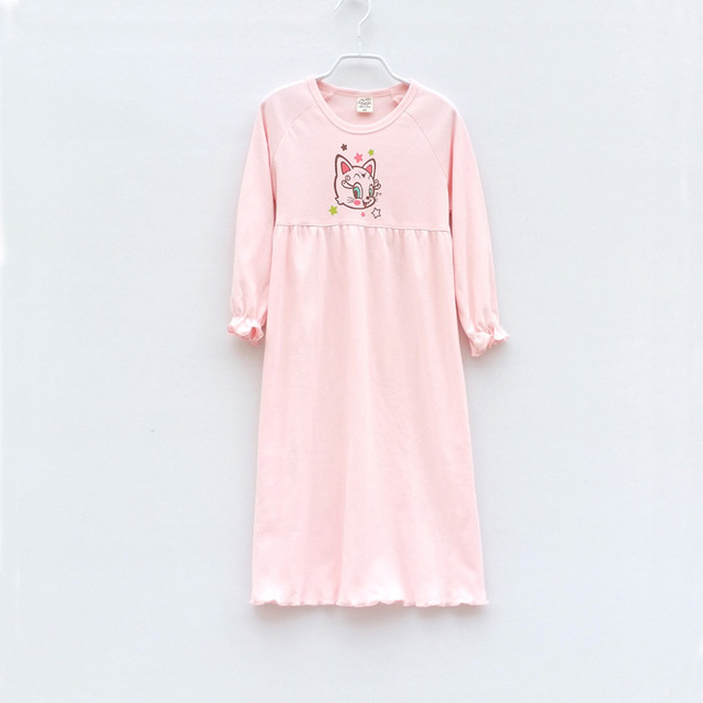 d0c2e63ed Childrens Girls New Cotton Long Sleeves Nightdress Summer Pijama ...